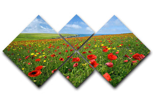 Wild Flower Meadow 4 Square Multi Panel Canvas - Canvas Art Rocks - 1