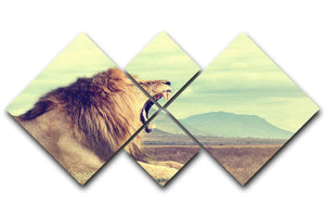 Wild african lion 4 Square Multi Panel Canvas - Canvas Art Rocks - 1