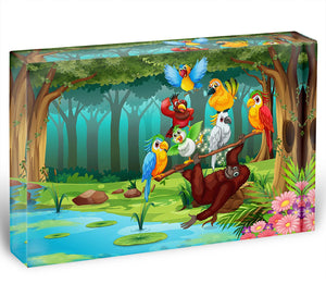 Wild animals in the forest illustration Acrylic Block - Canvas Art Rocks - 1