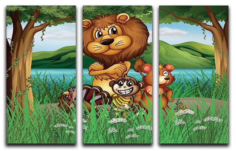 Wild animals in the jungle 3 Split Panel Canvas Print - Canvas Art Rocks - 1