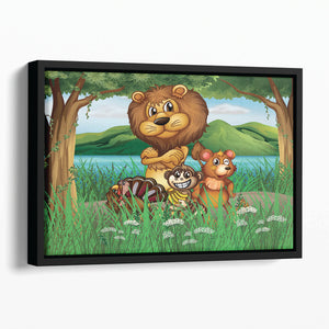 Wild animals in the jungle Floating Framed Canvas