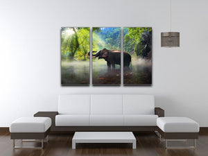 Wild elephant in the beautiful forest 3 Split Panel Canvas Print - Canvas Art Rocks - 3