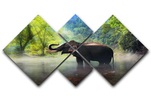 Wild elephant in the beautiful forest 4 Square Multi Panel Canvas - Canvas Art Rocks - 1