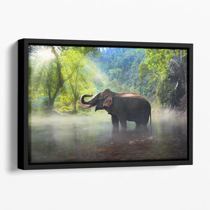 Wild elephant in the beautiful forest Floating Framed Canvas - Canvas Art Rocks - 1