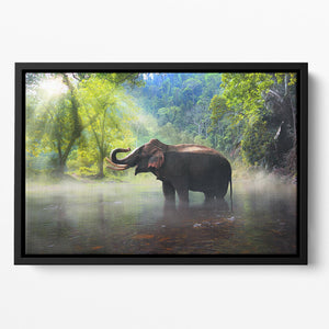 Wild elephant in the beautiful forest Floating Framed Canvas - Canvas Art Rocks - 2