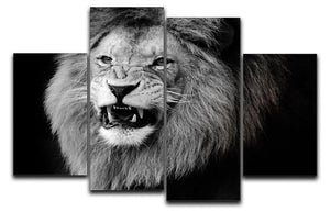 Wild lion portrait in black and white. 4 Split Panel Canvas - Canvas Art Rocks - 1