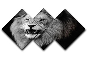 Wild lion portrait in black and white. 4 Square Multi Panel Canvas - Canvas Art Rocks - 1