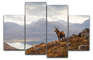 Wild stag overlooking Loch Torridon 4 Split Panel Canvas - Canvas Art Rocks - 1