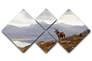 Wild stag overlooking Loch Torridon 4 Square Multi Panel Canvas - Canvas Art Rocks - 1