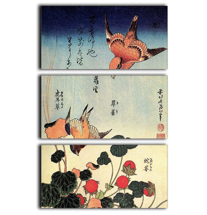 Wild strawberries and birds by Hokusai 3 Split Panel Canvas Print