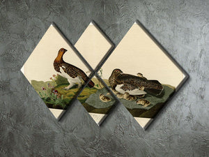 Willow Grouse by Audubon 4 Square Multi Panel Canvas - Canvas Art Rocks - 2