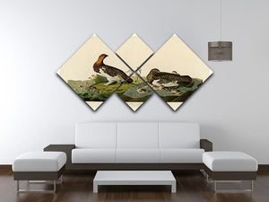 Willow Grouse by Audubon 4 Square Multi Panel Canvas - Canvas Art Rocks - 3