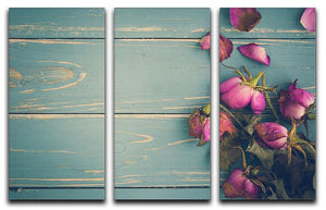 Wilted Flower Vintage Background 3 Split Panel Canvas Print - Canvas Art Rocks - 1