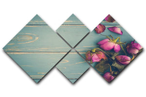 Wilted Flower Vintage Background 4 Square Multi Panel Canvas  - Canvas Art Rocks - 1