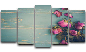 Wilted Flower Vintage Background 5 Split Panel Canvas  - Canvas Art Rocks - 1