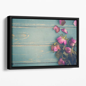 Wilted Flower Vintage Background Floating Framed Canvas