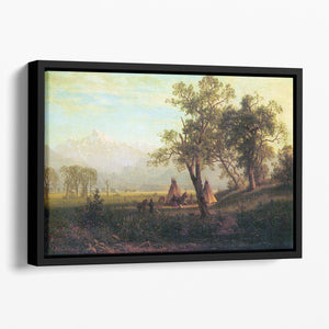 Wind River Mountains in Nebraska by Bierstadt Floating Framed Canvas - Canvas Art Rocks - 1