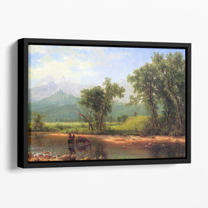 Wind River Mountains landscape in Wyoming by Bierstadt Floating Framed Canvas - Canvas Art Rocks - 1