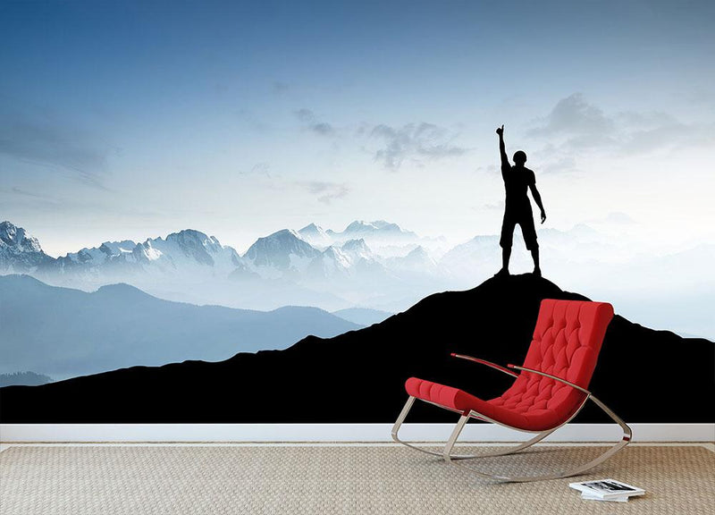 Winner silhouette on the mountain top Wall Mural Wallpaper - Canvas Art Rocks - 1