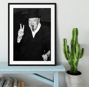 Winston Churchill giving the victory sign Framed Print - Canvas Art Rocks - 1
