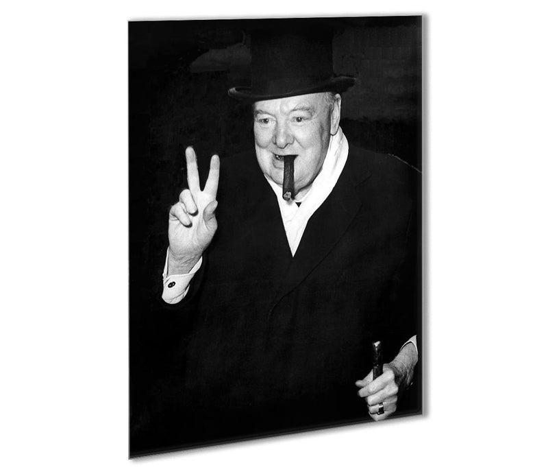 Winston Churchill giving the victory sign Outdoor Metal Print - Canvas Art Rocks - 1