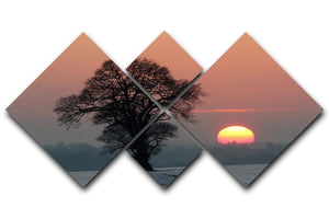 Winter Sunset 4 Square Multi Panel Canvas - Canvas Art Rocks - 1