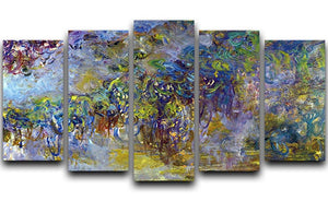 Wisteria 2 by Monet 5 Split Panel Canvas  - Canvas Art Rocks - 1