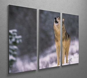 Wolf Howling in White Snow 3 Split Panel Canvas Print - Canvas Art Rocks - 2