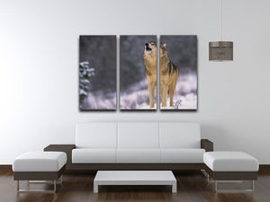 Wolf Howling in White Snow 3 Split Panel Canvas Print - Canvas Art Rocks - 3