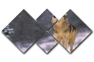 Wolf Howling in White Snow 4 Square Multi Panel Canvas - Canvas Art Rocks - 1