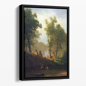 Wolf River Kansas by Bierstadt Floating Framed Canvas - Canvas Art Rocks - 1