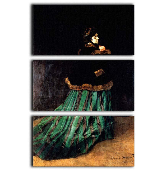 Woman In A Green Dress by Monet 3 Split Panel Canvas Print