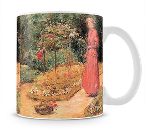 Woman cuts roses in a garden by Hassam Mug - Canvas Art Rocks - 1