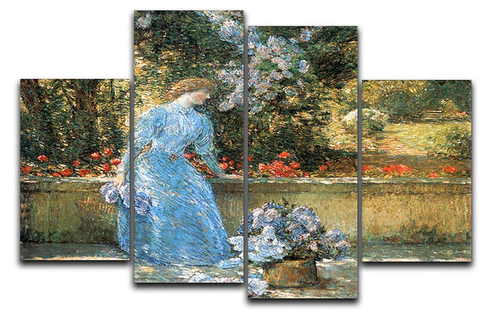 Woman in park by Hassam 4 Split Panel Canvas