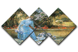 Woman in park by Hassam 4 Square Multi Panel Canvas - Canvas Art Rocks - 1