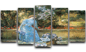 Woman in park by Hassam 5 Split Panel Canvas - Canvas Art Rocks - 1