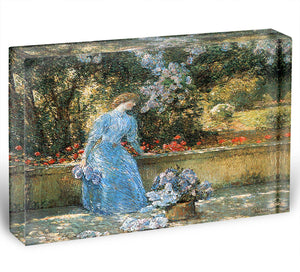 Woman in park by Hassam Acrylic Block - Canvas Art Rocks - 1