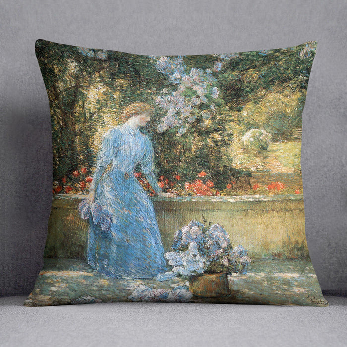 Woman in park by Hassam Cushion
