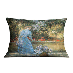 Woman in park by Hassam Cushion - Canvas Art Rocks - 4