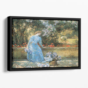 Woman in park by Hassam Floating Framed Canvas - Canvas Art Rocks - 1