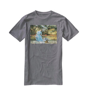 Woman in park by Hassam T-Shirt - Canvas Art Rocks - 3