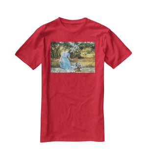 Woman in park by Hassam T-Shirt - Canvas Art Rocks - 4