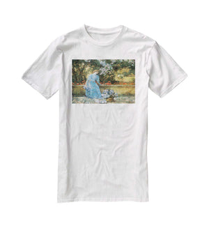 Woman in park by Hassam T-Shirt - Canvas Art Rocks - 5