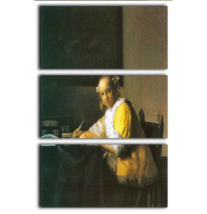 Woman in yellow by Vermeer 3 Split Panel Canvas Print - Canvas Art Rocks - 1