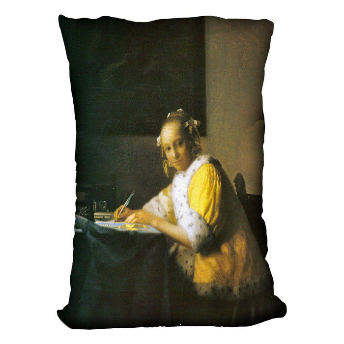 Woman in yellow by Vermeer Cushion
