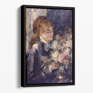 Woman with Lilacs by Renoir Floating Framed Canvas
