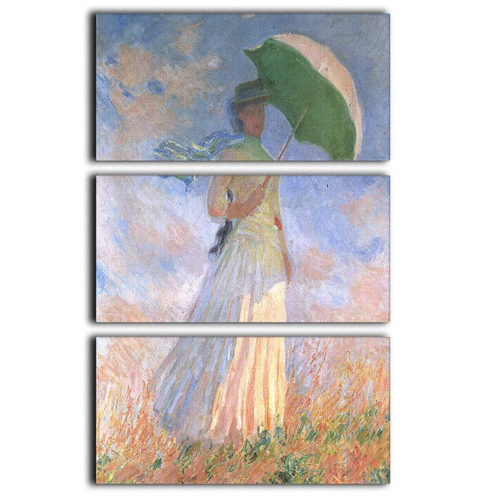 Woman with Parasol 2 by Monet 3 Split Panel Canvas Print