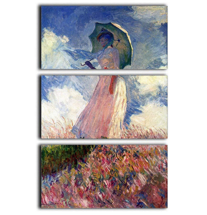 Woman with Parasol study by Monet 3 Split Panel Canvas Print