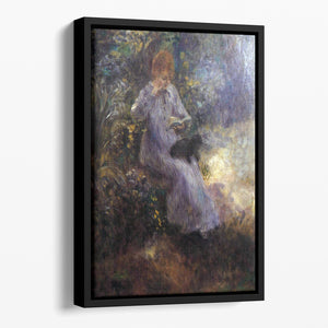Woman with a black dog by Renoir Floating Framed Canvas