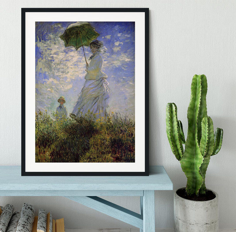 Woman with a parasol by Monet Framed Print - Canvas Art Rocks - 1